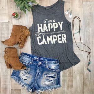 Tops - King saints gray happy camper tank